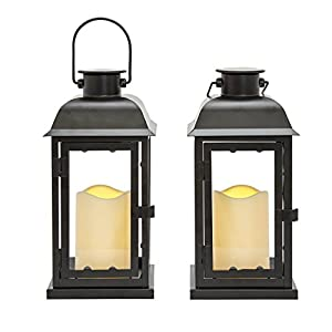 "Outdoor Black Solar Candle Lanterns, 11"" Height, Warm White LEDs, Dusk to Dawn Technology, Batteries Included - Set of 2"