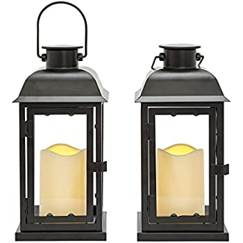 This Item Outdoor Black Solar Candle Lanterns, 11