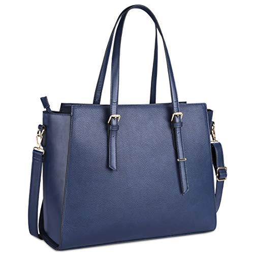 Laptop Bag for Women 15.6 Inch Waterproof Laptop Tote Bag Large Leather Computer Briefcase Womens Business Professional Office Work Bag Lightweight Shoulder Handbag,Navy
