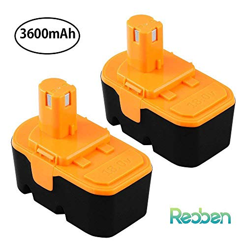 [Upgraded 3600mAh] Replace for Ryobi 18V Battery One Plus P100 P101 ABP1801 ABP1803 BPP1820 BPP-1815 1322401 1400672 13022 1323303 130255004 130224028 130224007 Cordless Power Tools 2 Packs by Reoben