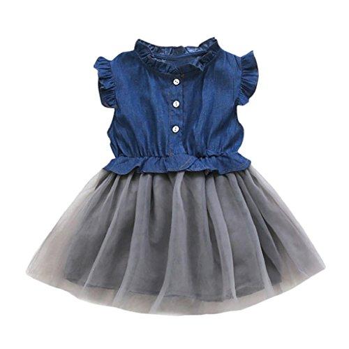 1-8 Years Old Girls,Yamally_9R Fashion Baby Girls Denim Dress Sleeveless Tutu Dress Princess Dress Skirt Cowboy Clothes (3T, Dark Blue)