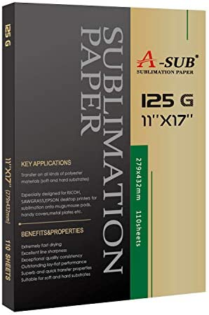 A-SUB Sublimation Paper 11x17 Inch 110 Sheets for All Inkjet Printer which Match Sublimation Ink 125g