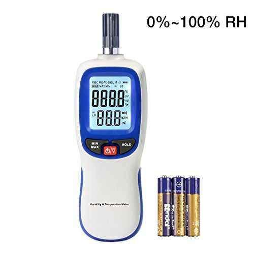 Lcd Digital Temperature Sensor - Digital Thermometer Hygrometer, Portable Handheld Humidity and Temperature Moisture Meter Tester Gauge with LCD Backlight, Wet Bulb / Dew Point Temperature Detector for Indoor and Outdoors