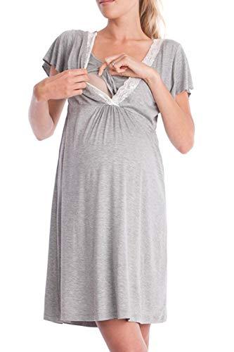 Mupoduvos L'allattamento Le Donne Abiti A Maniche Corte Vestiti Premaman Grigio Chiarocolor