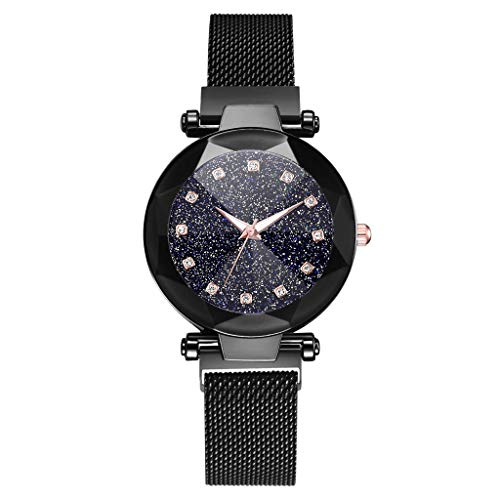 LUXISDE Watch Women Fashion Starry Sky Convex Glass Quartz Mesh with Magnetic Buckle Ladies Watch G