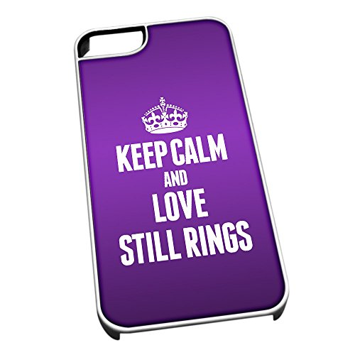 Bianco cover per iPhone 5/5S 1912 viola Keep Calm and Love still Rings