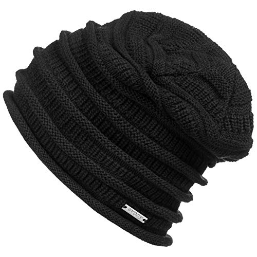 - Revony Evony Cotton Slouchy Beanie Hat - BE10 (Black)