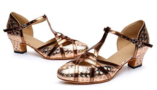 Tda Para Mujer De Tacón Medio De Cuero De La Pu Salsa Tango Ballroom Latin Party Zapatos De Baile Cm101 5cm Brown De Impresión