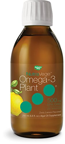 Nature's Way NutraVege Omega-3 Plant Based Liquid Supplement- Vegetarian, Vegan- Lemon Flavor, 6.8 oz