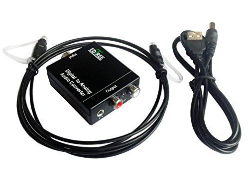 EDTree Digital Optical to Analog RCA Coaxial Audio Converter with Digital Optical Toslink and S/pdif Coaxial Inputs and Analog RCA and AUX 3.5mm (Headphone) Outputs - 6 Foot Heavy Duty Optical Toslink Cable with Gold Plated Connector Tips Included