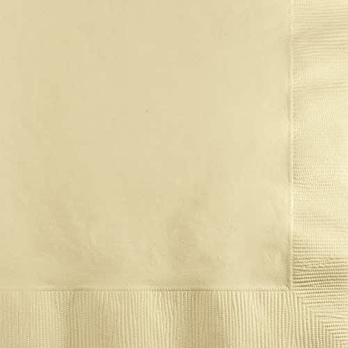Creative Converting Paper Napkins, 3-Ply Beverage Size, Ivory Color, 50-Count Packages (Pack of 5)