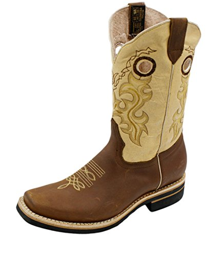 Dona Michi Uomo Cowboy Vera Pelle Di Vacchetta Punta Quadrata Rodeo Western Stivali Tan