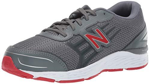 New Balance Boys' 680v5 Running Shoe, Lead/red, 3 M US Little Kid