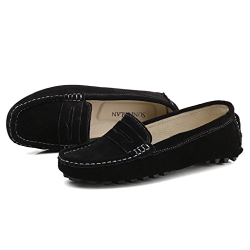 1f1cbe14d5a SUNROLAN Casual Women s Suede Leather Driving Moccasins Slip-On Penny  Loafers Boat Shoes Flats hot