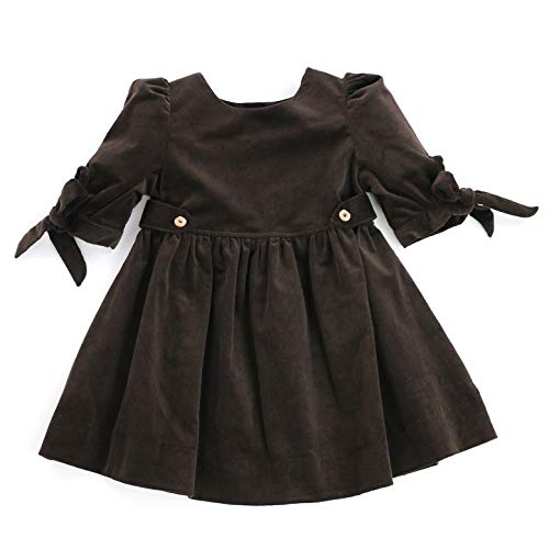 THE SILLY SISSY - Toddlers Girls Winter Thistle Tie-Sleeve Corduroy Dress (Chocolate Brown, 3T)
