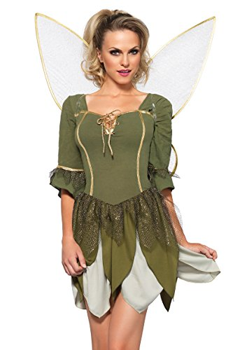 [Leg Avenue Women's 2 Piece Rebel Tink Fairy Costume, Green, Small] (Tinkerbell Women Costumes)