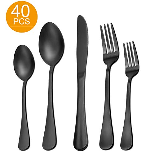 Matte Black Silverware Set, 40 Pieces Stainless Steel Flatware Set Utensils Cutlery Tableware Set Steak Knife Fork and Spoon Set, Serve for 8, Gift Package