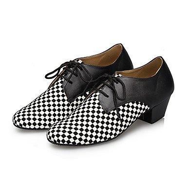 Silencio @ Hombres Piel Cuero Zapatos De Baile Latina de tacón Chunky talón profesional/interior/rendimiento negro negro/blanco