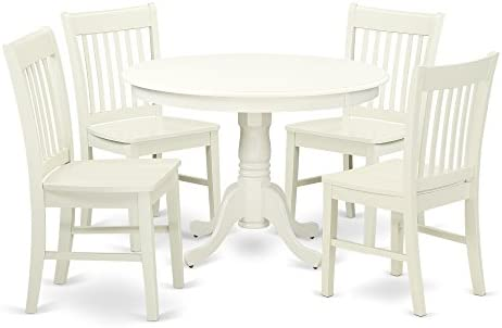 HLNO5-LWH-W 5 Piece Hartland Set With One Round 42in Dinette Table And 4 Dinette Chairs With Wood Seat In A warm Linen White Finish.