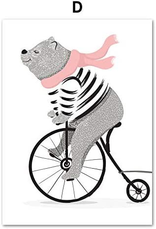 Hechuyue Dibujos Animados Oso Bicicleta Perro Pluma Lienzo Pintura ...