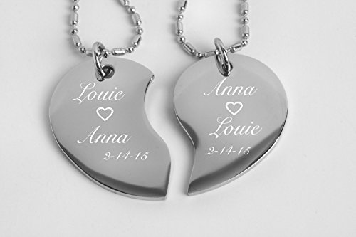 Engraved Couple's Split Heart Tear Drop Shaped Silver Necklace Set Personalized FREE by aandlengraving