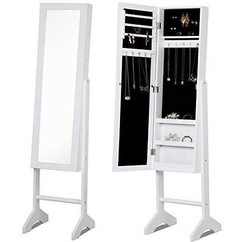 Yaheetech Mirrored Jewelry Cabinet Armoire Mirror Organizer Storage Box with Stand, White (Bedroom Mirrored Cabinet)