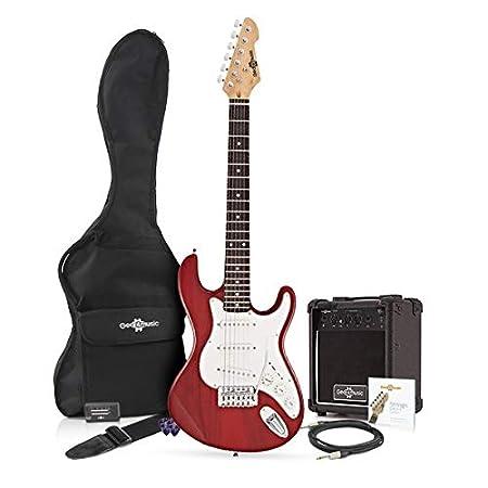 Paquete de guitarra eléctrica LA 3/4 + Amplificador de 10 W Granate: Amazon.es: Instrumentos musicales