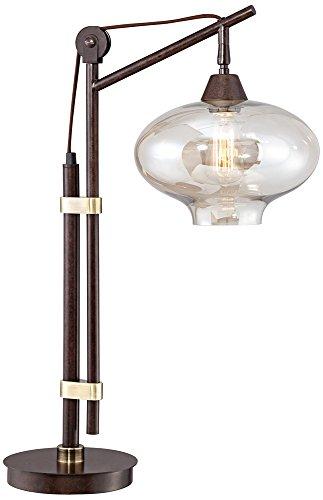 Calyx Cognac Glass Industrial Bronze Desk Lamp