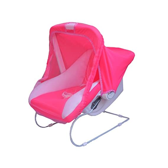Ehomekart Kids Pink Carry Cot Cum Bouncer 9 in 1 with Bottle Holder, Pink