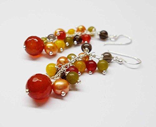 Carnelian earrings,sterling silver earrings,pearl earrings,smoky quartz earrings,peridot earrings,jade earrings,chain earrings,women earrings,fashion earrings,dangle earrings,wedding earrings (Chain Smoky Quartz Ring)