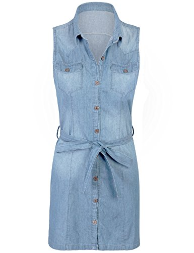 Front Shirt Button Belted Dress - KOGMO Womes Sleeveless Button Front Belted Washed Chambray Denim Shirt Dress-M-LIGHT_WASH