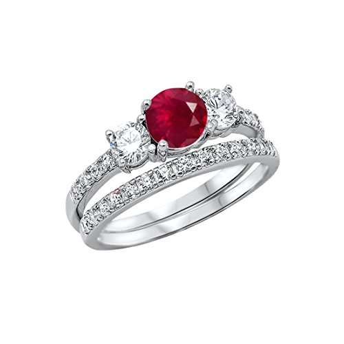 (Blue Apple Co. 3-Stone Wedding Bridal Set Ring Band Round Simulated Ruby 925 Sterling Silver,)