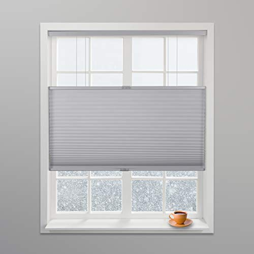 Arlo Blinds Grey Light Filtering Top Down Bottom Up Deluxe Cordless Cellular Shades - Size: 34