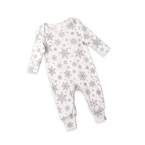 Newborn Coming Home Baby Boy Girl Long Sleeve Christmas Onesie with Snowfall Print ()