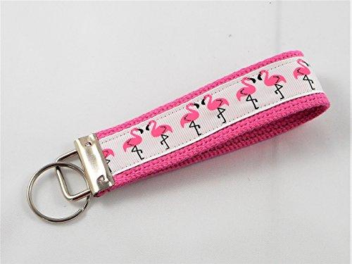 Pink Flamingo Ribbon Wristlet Key Fob Keychain