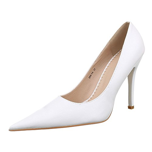 Ital-Design Damen Schuhe, 269-1A, Pumps High Heels Stiletto Weiß