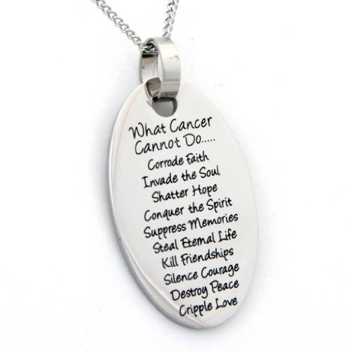 Rush Industries What Cancer Cannot Do Oval Shaped Pendant Necklace - Stainless Steel Necklace - Recovery Gifts ()