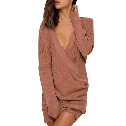 Baiggooswt Women Solid Color Slim Fit Sexy Deep V-Neck Long Sleeve Casual Sweater Knitting Dress