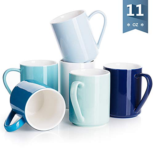 Sweese 6214 Porcelain Coffee Mug Set - 11 Ounce for Coffee, Tea, Cocoa and Mulled Drinks - Set of 6, Cold Assorted ()
