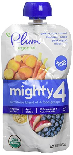 Plum Organics Tots Mighty 4 Toddler Food, Sweet Potato, Carrot, Blueberry, Apple, Greek Yogurt, Millet and Oat, 4 Ounce-6 count by Plum Organics