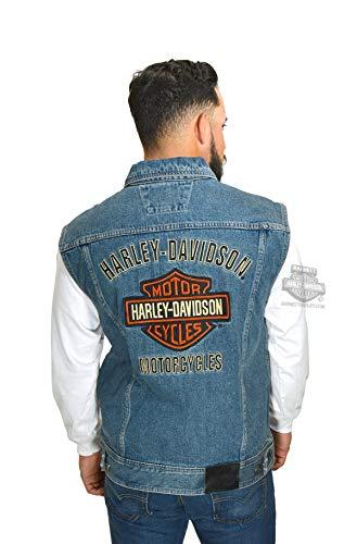 Harley-Davidson Mens Bar & Shield Logo Blue Denim Vest (2X)