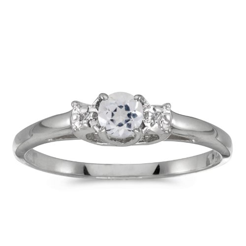 Jewels By Lux 10k White Gold Genuine Birthstone Solitaire Round White Topaz And Diamond Wedding Engagement Ring - Size 4.5 (0.28 Cttw.)