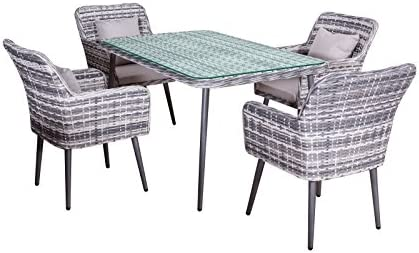 Comedor de jardín Lima en gris poliratan poli-mimbre muebles de jardín moderno 4 sillas + mesa de 1, 5m aluminio: Amazon.es: Jardín