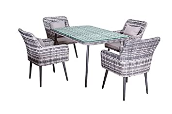 Comedor de jardín Lima en gris poliratan poli-mimbre muebles de ...