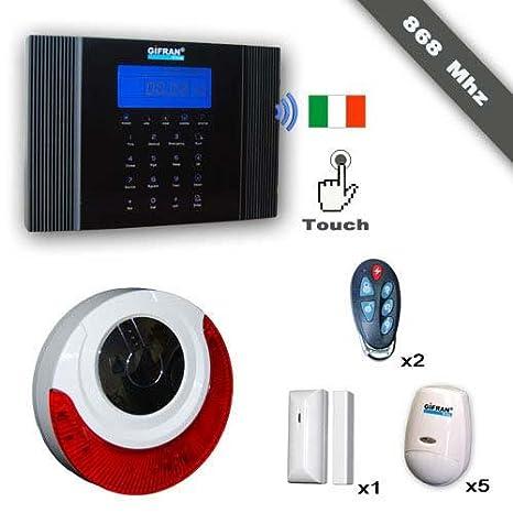 Antirrobo Casa Sin Hilos 868 MHz GSM Voz Guía italiana, Kit ...