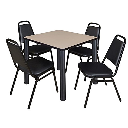 "Regency TB3030BEBPBK29BK Kee 30"" Square Break room Table & 4 Restaurant Stack Chairs, Beige/Black"
