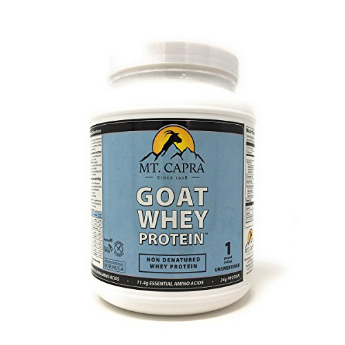MT. CAPRA SINCE 1928 Goat Whey Protein | Grass-Fed Undenatured Whey Protein Powder from Pastured Goats, High in Branch Chain Amino Acids, Unsweetened - 1 Pound (Best Undenatured Whey Protein)