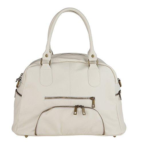 con Mano Borse in Made Italy Vera Chicca Handbag da 47x29x21 Tracolla Borsa Donna Pelle Beige a in Cm dI101qw
