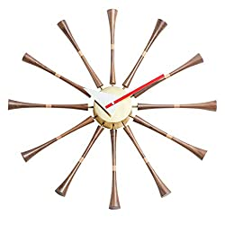 Shise George Nelson Spindle Clock, Decorative Modern Silent Wall Clock for Home, Kitchen,Living Room,Office etc. - Mid Century Retro Design(Full Range Available)