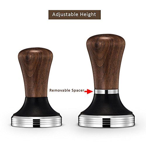 Diguo Elegance Wooden Coffee Tamper. Flat Espresso Tamper 58mm Portafilter. Stainless Steel Flat Height Adjustable Wooden Handle. Barista Espresso Tamper by Diguo (Image #1)